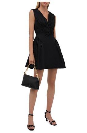 Женское хлопковое платье SELF-PORTRAIT черного цвета, арт. PF21-023 | Фото 2