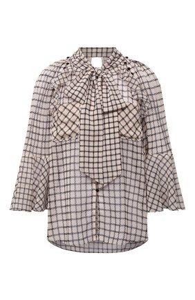 Женская блузка SELF-PORTRAIT бежевого цвета, арт. PF21-062T | Фото 1 (Материал внешний: Синтетический материал; Длина (для топов): Стандартные; Рукава: 3/4; Женское Кросс-КТ: Блуза-одежда; Стили: Кэжуэл; Принт: С принтом, Клетка)