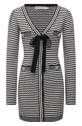 Женское платье из хлопка и шерсти SELF-PORTRAIT черно-белого цвета, арт. PF21-119 | Фото 1