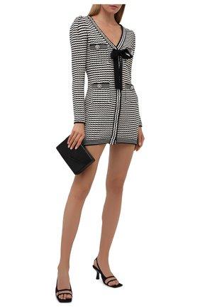 Женское платье из хлопка и шерсти SELF-PORTRAIT черно-белого цвета, арт. PF21-119 | Фото 2