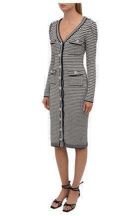 Женское платье из хлопка и шерсти SELF-PORTRAIT черно-белого цвета, арт. PF21-947 | Фото 2
