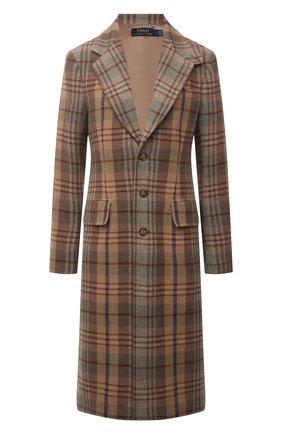 Женское пальто POLO RALPH LAUREN коричневого цвета, арт. 211843296 | Фото 1 (Материал внешний: Шерсть; Длина (верхняя одежда): До колена; Материал подклада: Вискоза; Рукава: Длинные; Стили: Кэжуэл)