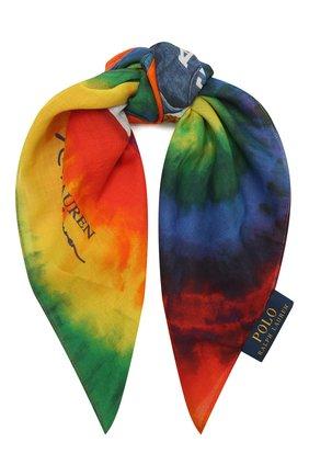 Женский хлопковый платок POLO RALPH LAUREN разноцветного цвета, арт. 455849486 | Фото 1 (Материал: Хлопок, Текстиль; Принт: С принтом)