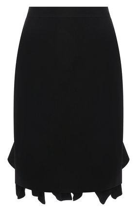 Женская шерстяная юбка BOTTEGA VENETA черного цвета, арт. 666516/V12V0   Фото 1 (Материал внешний: Шерсть; Длина Ж (юбки, платья, шорты): Мини; Стили: Романтичный; Женское Кросс-КТ: Юбка-одежда)