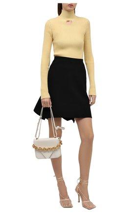 Женская шерстяная юбка BOTTEGA VENETA черного цвета, арт. 666516/V12V0   Фото 2 (Материал внешний: Шерсть; Длина Ж (юбки, платья, шорты): Мини; Стили: Романтичный; Женское Кросс-КТ: Юбка-одежда)