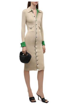 Женское шелковое платье BOTTEGA VENETA бежевого цвета, арт. 661534/V0ZM0   Фото 2