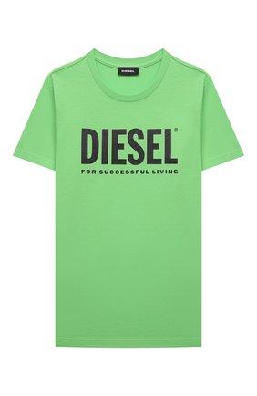 Детская хлопковая футболка DIESEL зеленого цвета, арт. 00J4P6-00YI9 | Фото 1