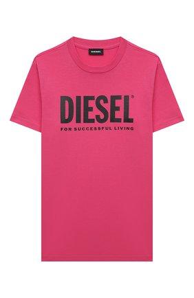 Детская хлопковая футболка DIESEL фуксия цвета, арт. 00J4P6-00YI9 | Фото 1