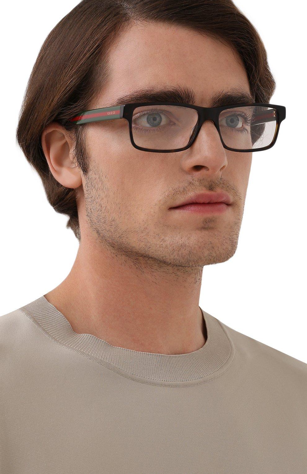 Мужские оправа GUCCI коричневого цвета, арт. GG0752 002   Фото 2 (Тип очков: Оправа; Очки форма: Прямоугольные; Оптика Гендер: оптика-мужское)