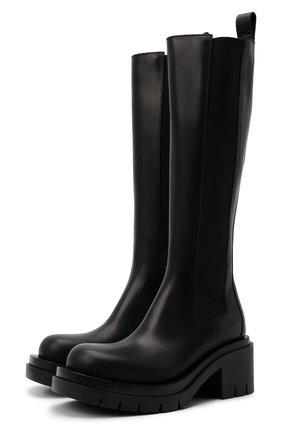 Женские кожаные сапоги bv lug BOTTEGA VENETA черного цвета, арт. 667146/VBS50 | Фото 1 (Материал внутренний: Натуральная кожа; Высота голенища: Средние; Каблук высота: Средний; Подошва: Платформа; Каблук тип: Устойчивый)