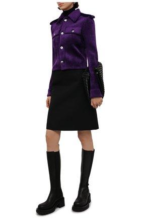 Женские кожаные сапоги bv lug BOTTEGA VENETA черного цвета, арт. 667146/VBS50 | Фото 2 (Материал внутренний: Натуральная кожа; Высота голенища: Средние; Каблук высота: Средний; Подошва: Платформа; Каблук тип: Устойчивый)