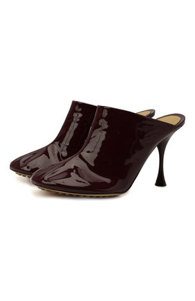 Женские кожаные мюли dot BOTTEGA VENETA бордового цвета, арт. 673780/V10M0 | Фото 1 (Подошва: Плоская; Материал внутренний: Натуральная кожа; Каблук тип: Шпилька; Каблук высота: Высокий)