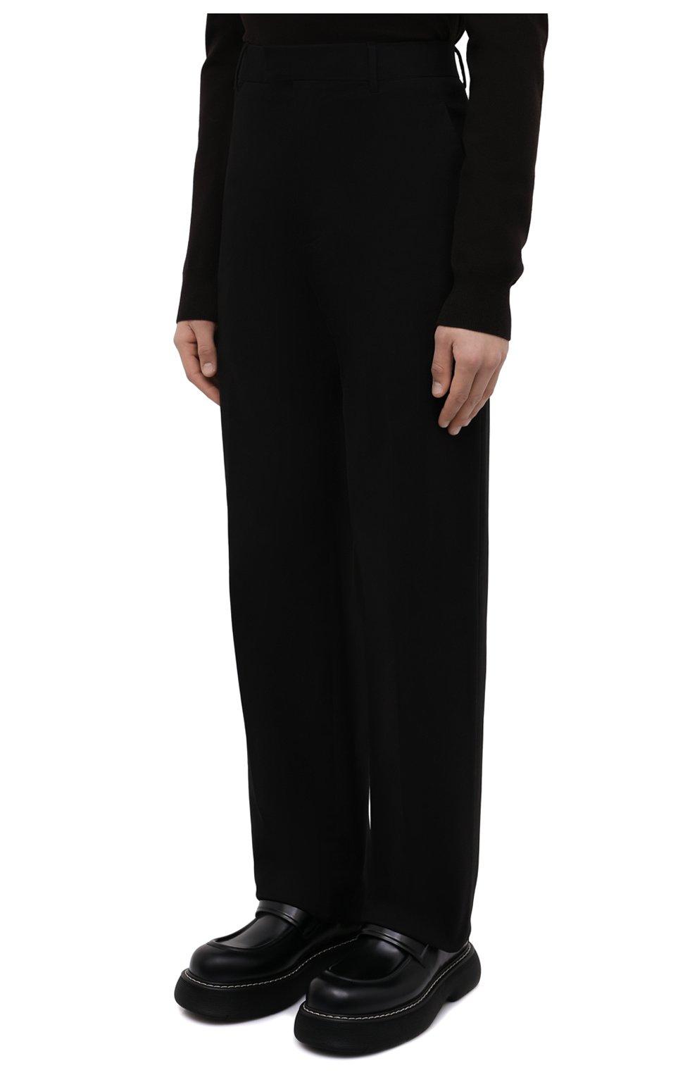 Мужские хлопковые брюки BOTTEGA VENETA черного цвета, арт. 666392/V0KF0 | Фото 3 (Длина (брюки, джинсы): Стандартные; Случай: Повседневный; Материал внешний: Хлопок; Стили: Кэжуэл)