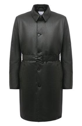Мужской кожаное пальто BOTTEGA VENETA темно-зеленого цвета, арт. 668634/V16H0 | Фото 1 (Длина (верхняя одежда): До колена; Рукава: Длинные; Материал подклада: Хлопок; Мужское Кросс-КТ: пальто-верхняя одежда; Стили: Кэжуэл)