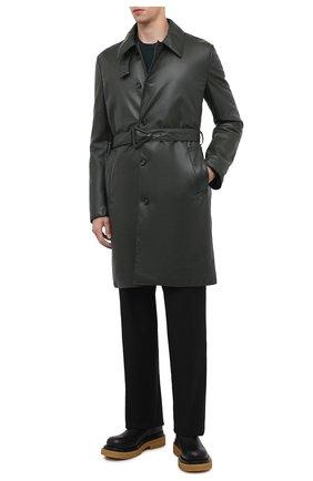 Мужской кожаное пальто BOTTEGA VENETA темно-зеленого цвета, арт. 668634/V16H0 | Фото 2 (Длина (верхняя одежда): До колена; Рукава: Длинные; Материал подклада: Хлопок; Мужское Кросс-КТ: пальто-верхняя одежда; Стили: Кэжуэл)