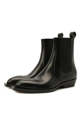 Мужские кожаные казаки chisel BOTTEGA VENETA черного цвета, арт. 667085/V10T0 | Фото 1 (Материал внутренний: Натуральная кожа; Подошва: Плоская; Мужское Кросс-КТ: Казаки-обувь, Сапоги-обувь, Челси-обувь)
