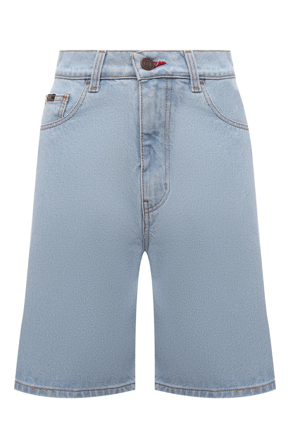 Женские джинсовые шорты BLCV голубого цвета, арт. 1270VH | Фото 1 (Женское Кросс-КТ: Шорты-одежда; Кросс-КТ: Деним; Длина Ж (юбки, платья, шорты): Мини; Стили: Гранж; Материал внешний: Хлопок)