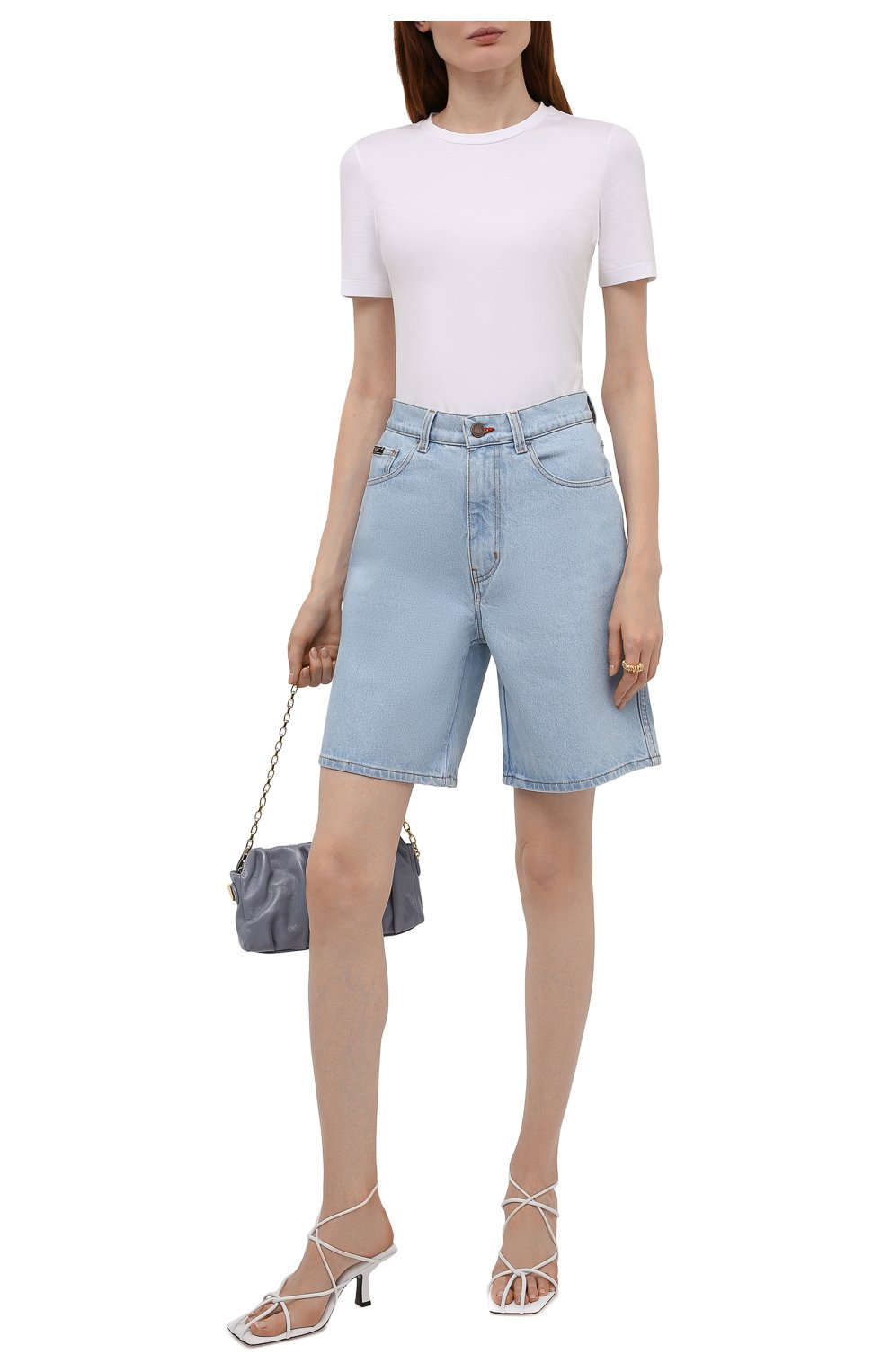 Женские джинсовые шорты BLCV голубого цвета, арт. 1270VH | Фото 2 (Женское Кросс-КТ: Шорты-одежда; Кросс-КТ: Деним; Длина Ж (юбки, платья, шорты): Мини; Стили: Гранж; Материал внешний: Хлопок)