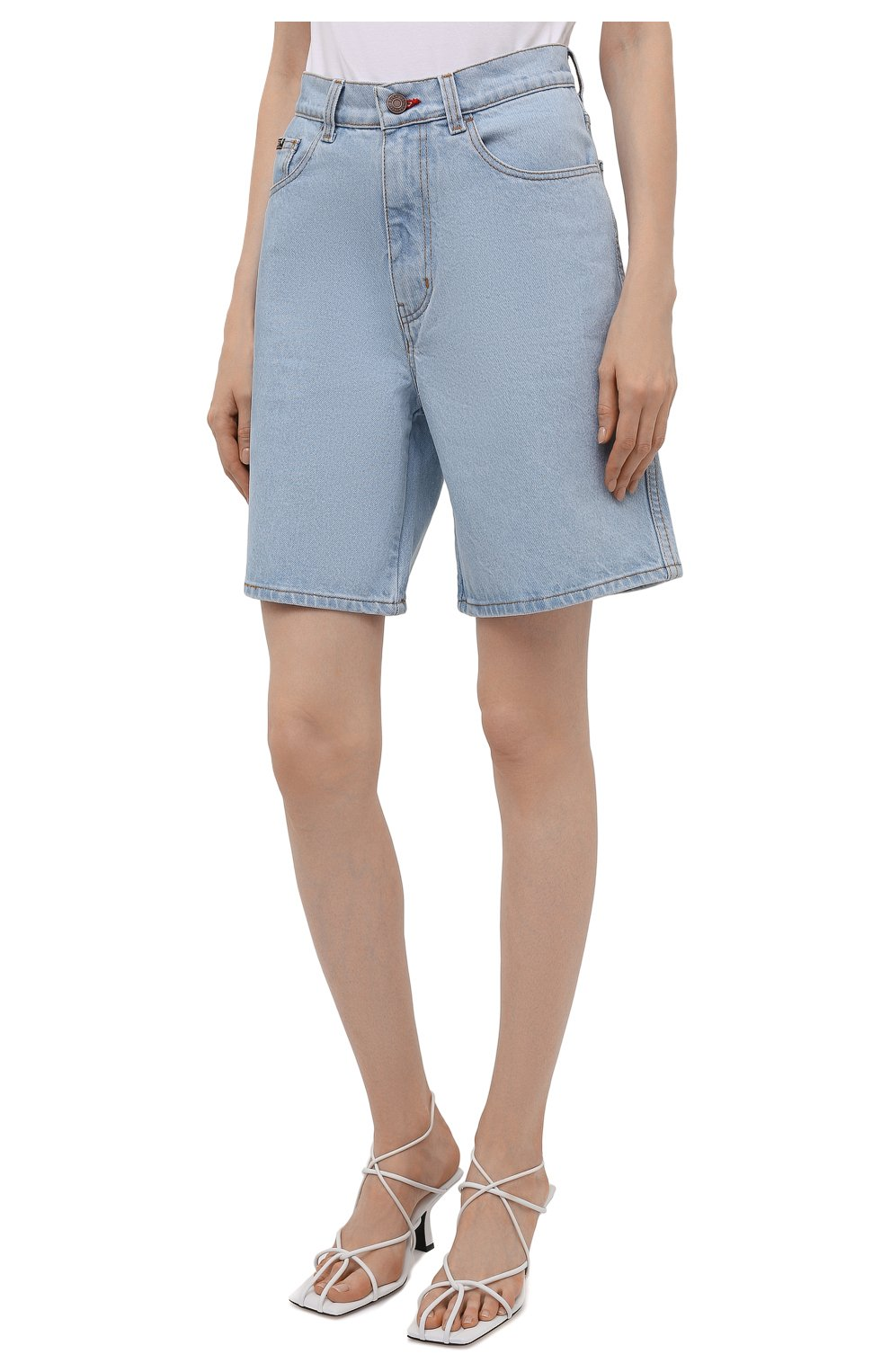 Женские джинсовые шорты BLCV голубого цвета, арт. 1270VH | Фото 3 (Женское Кросс-КТ: Шорты-одежда; Кросс-КТ: Деним; Длина Ж (юбки, платья, шорты): Мини; Стили: Гранж; Материал внешний: Хлопок)