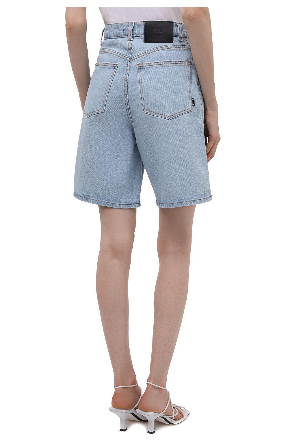 Женские джинсовые шорты BLCV голубого цвета, арт. 1270VH | Фото 4 (Женское Кросс-КТ: Шорты-одежда; Кросс-КТ: Деним; Длина Ж (юбки, платья, шорты): Мини; Стили: Гранж; Материал внешний: Хлопок)