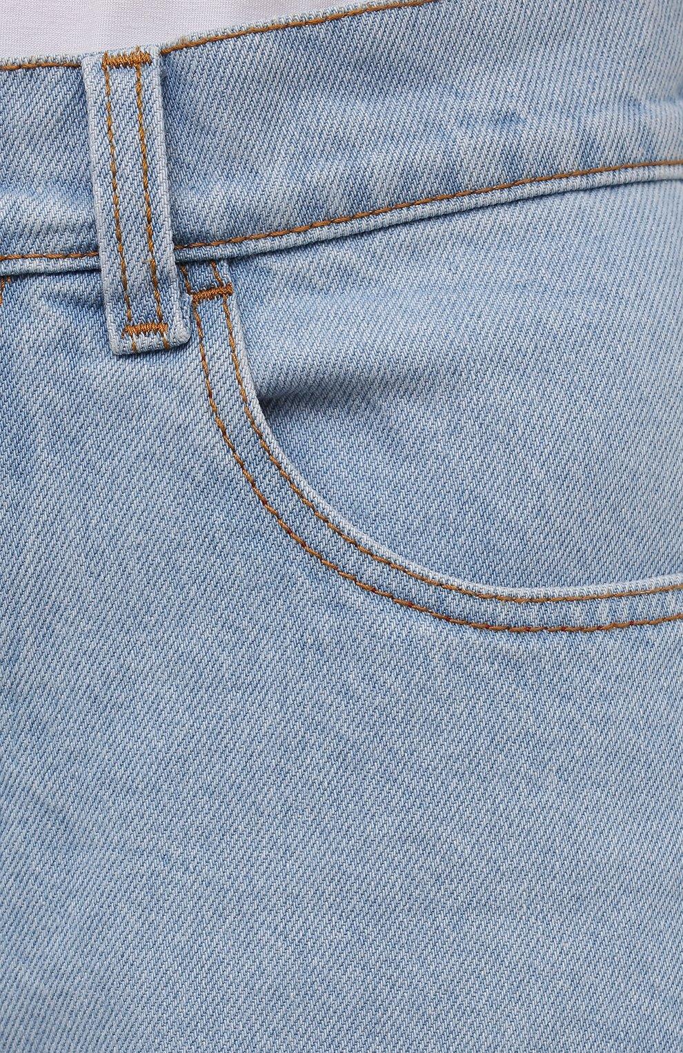 Женские джинсовые шорты BLCV голубого цвета, арт. 1270VH | Фото 5 (Женское Кросс-КТ: Шорты-одежда; Кросс-КТ: Деним; Длина Ж (юбки, платья, шорты): Мини; Стили: Гранж; Материал внешний: Хлопок)