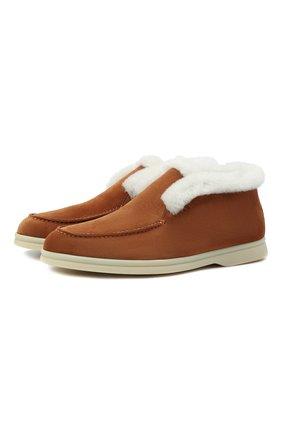 Женские замшевые ботинки LORO PIANA коричневого цвета, арт. FAL7979 | Фото 1 (Каблук высота: Низкий; Женское Кросс-КТ: Зимние ботинки, Дезерты-ботинки; Материал утеплителя: Натуральный мех; Подошва: Плоская; Материал внешний: Замша)