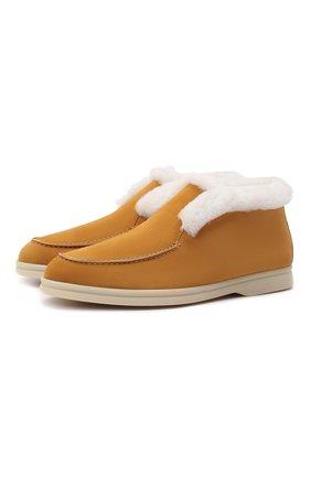 Женские замшевые ботинки LORO PIANA желтого цвета, арт. FAL7979   Фото 1 (Каблук высота: Низкий; Женское Кросс-КТ: Зимние ботинки, Дезерты-ботинки; Материал утеплителя: Натуральный мех; Подошва: Плоская; Материал внешний: Замша)