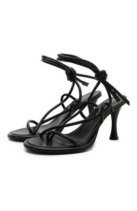 Женские кожаные босоножки PROENZA SCHOULER черного цвета, арт. PS37003A/14000 | Фото 1 (Материал внутренний: Натуральная кожа; Подошва: Плоская; Каблук высота: Высокий; Каблук тип: Шпилька)