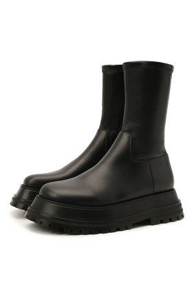 Женские кожаные ботинки hurr BURBERRY черного цвета, арт. 8043647 | Фото 1 (Подошва: Платформа; Материал внутренний: Натуральная кожа; Каблук высота: Низкий; Женское Кросс-КТ: Военные ботинки)