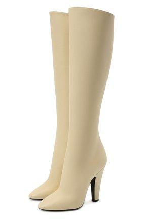 Женские кожаные сапоги 68 SAINT LAURENT кремвого цвета, арт. 657922/2W700 | Фото 1 (Материал внутренний: Натуральная кожа; Каблук тип: Устойчивый; Подошва: Плоская; Высота голенища: Средние; Каблук высота: Высокий)