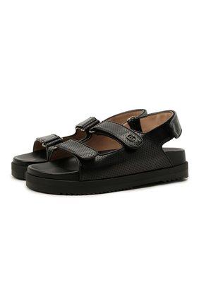 Женские кожаные сандалии lil GUCCI черного цвета, арт. 658813/C9D10 | Фото 1 (Подошва: Платформа; Материал внутренний: Натуральная кожа)