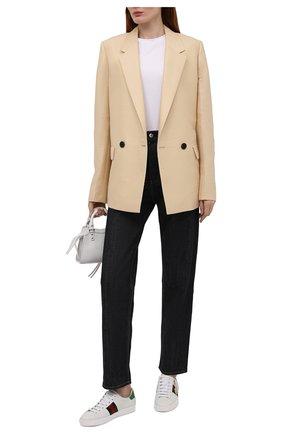 Женские кожаные кеды new ace GUCCI белого цвета, арт. 661663/0FI60 | Фото 2 (Подошва: Платформа; Материал внутренний: Натуральная кожа)