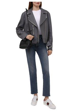 Женские кожаные кеды new ace GUCCI белого цвета, арт. 664142/1XG60 | Фото 2 (Материал внутренний: Натуральная кожа; Подошва: Платформа)