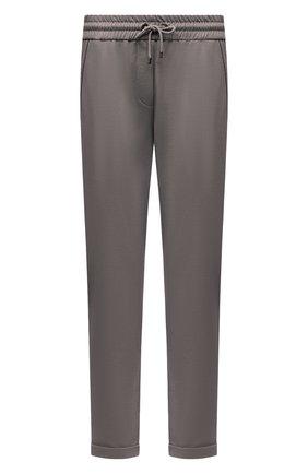 Женские хлопковые брюки BRUNELLO CUCINELLI серого цвета, арт. MH827SA399 | Фото 1 (Материал внешний: Хлопок; Женское Кросс-КТ: Брюки-одежда, Брюки-спорт; Силуэт Ж (брюки и джинсы): Прямые; Стили: Спорт-шик; Длина (брюки, джинсы): Укороченные; Кросс-КТ: Трикотаж)