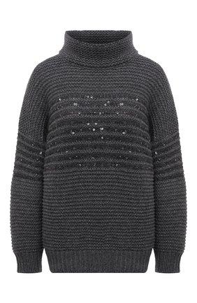 Женский свитер из шерсти и кашемира BRUNELLO CUCINELLI темно-серого цвета, арт. M6D365904 | Фото 1 (Длина (для топов): Стандартные; Материал внешний: Шерсть, Кашемир; Рукава: Длинные; Стили: Кэжуэл; Женское Кросс-КТ: Свитер-одежда)