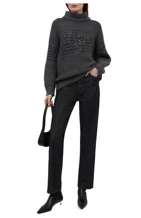 Женский свитер из шерсти и кашемира BRUNELLO CUCINELLI темно-серого цвета, арт. M6D365904 | Фото 2 (Длина (для топов): Стандартные; Материал внешний: Шерсть, Кашемир; Рукава: Длинные; Стили: Кэжуэл; Женское Кросс-КТ: Свитер-одежда)