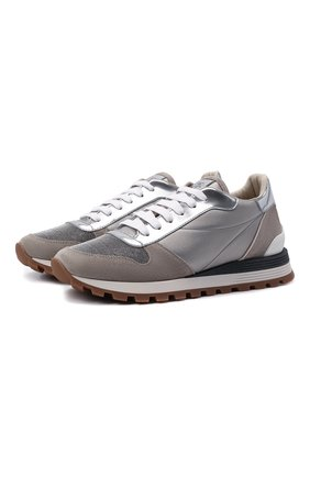 Женские кожаные кроссовки BRUNELLO CUCINELLI серого цвета, арт. MZSFG2020 | Фото 1 (Подошва: Платформа; Материал внутренний: Текстиль)