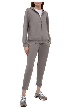 Женские кожаные кроссовки BRUNELLO CUCINELLI серого цвета, арт. MZSFG2020 | Фото 2 (Подошва: Платформа; Материал внутренний: Текстиль)