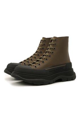 Женские кожаные ботинки ALEXANDER MCQUEEN хаки цвета, арт. 633900/WHYK3 | Фото 1 (Каблук высота: Низкий; Материал внутренний: Натуральная кожа; Подошва: Платформа; Женское Кросс-КТ: Хайкеры-ботинки)