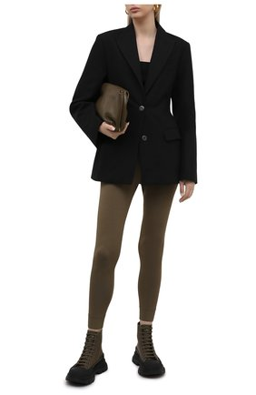 Женские кожаные ботинки ALEXANDER MCQUEEN хаки цвета, арт. 633900/WHYK3 | Фото 2 (Каблук высота: Низкий; Материал внутренний: Натуральная кожа; Подошва: Платформа; Женское Кросс-КТ: Хайкеры-ботинки)