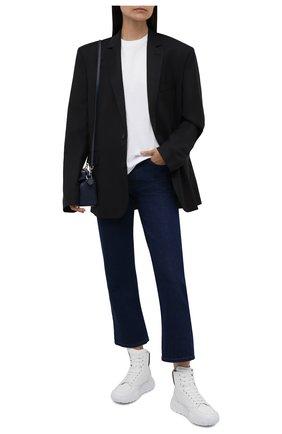 Женские кожаные кроссовки ALEXANDER MCQUEEN черно-белого цвета, арт. 666380/WIA9I | Фото 2 (Подошва: Платформа; Материал внутренний: Натуральная кожа; Женское Кросс-КТ: Хайкеры-ботинки; Кросс-КТ: хайтопы)