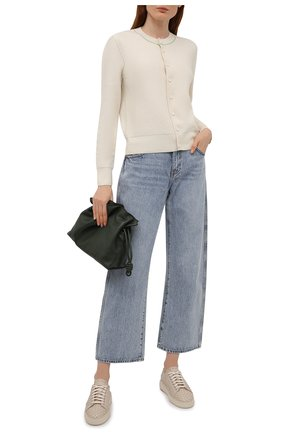 Женские кожаные кеды SANTONI серого цвета, арт. WBCD60821TIACCSYE35 | Фото 2