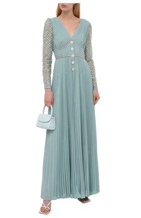 Женское платье SELF-PORTRAIT светло-зеленого цвета, арт. PF21-060 | Фото 2