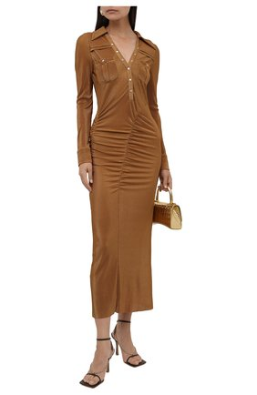 Женское платье SELF-PORTRAIT коричневого цвета, арт. PF21-102 | Фото 2