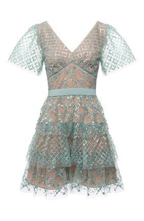 Женское платье SELF-PORTRAIT светло-зеленого цвета, арт. PF21-107 | Фото 1