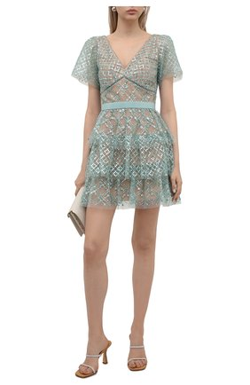 Женское платье SELF-PORTRAIT светло-зеленого цвета, арт. PF21-107 | Фото 2