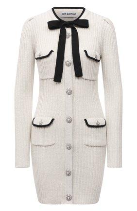 Женское платье из хлопка и шерсти SELF-PORTRAIT белого цвета, арт. PF21-117 | Фото 1