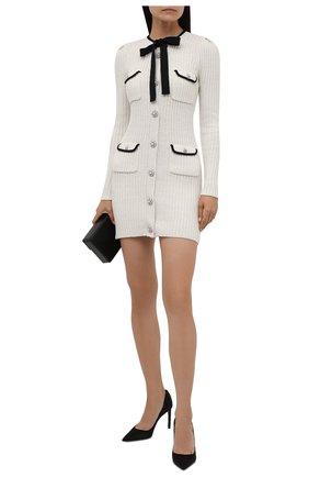 Женское платье из хлопка и шерсти SELF-PORTRAIT белого цвета, арт. PF21-117 | Фото 2