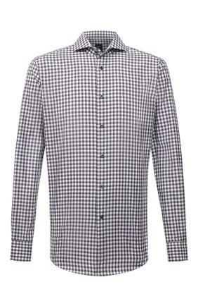 Мужская хлопковая рубашка BOSS серого цвета, арт. 50454129 | Фото 1 (Длина (для топов): Стандартные; Рукава: Длинные; Материал внешний: Хлопок; Случай: Повседневный; Рубашки М: Regular Fit; Стили: Кэжуэл; Манжеты: На пуговицах; Принт: Клетка; Воротник: Акула)