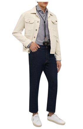 Мужская хлопковая рубашка BOSS серого цвета, арт. 50454129 | Фото 2 (Длина (для топов): Стандартные; Рукава: Длинные; Материал внешний: Хлопок; Случай: Повседневный; Рубашки М: Regular Fit; Стили: Кэжуэл; Манжеты: На пуговицах; Принт: Клетка; Воротник: Акула)